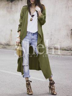 Army Green Drapped Collar Slit Back Duster Coat -SheIn(Sheinside) Mobile Site Green Cardigan Outfit, Kimono Outfit, Cardigan Outfits, Denim Outfit, Kimono Fashion, Army Look, Green Kimono, Cool Outfits, Fashion Outfits
