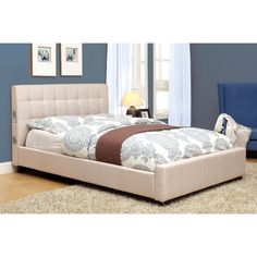 Furniture of America Behati Upholstered Platform Bed with Bluetooth Speakers