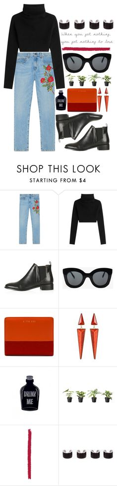 """""""gucci pants w/ booties"""" by kianahall ❤ liked on Polyvore featuring Gucci, Valentino, Topshop, CÉLINE, Amrita Singh and Maison Margiela"""