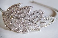 White Crystals Rhinestones Leaf Lace on Silver Metal Hairband. Weddings. Bling. Headband. Bride. Winter. Frost. Sparkles. Prom