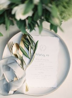 elegant gray and olive branch wedding place settings