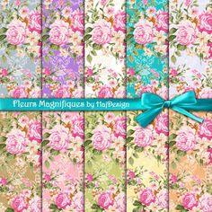 Fleurs Magnifiques - Digital Collage Sheet - Digital Papers - Shabby Chic Paper - Floral Paper - Decoupage Paper - Scrapbook - Roses
