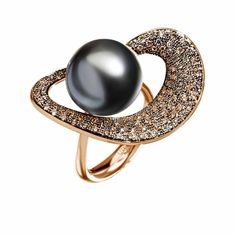 Utopia   Melodia Precious Harmony  Gold 18 kt, diamonds, South Sea and Tahitian pearls Ring  Rose and black rhodium plated gold, brown diamonds, Tahitian pearl
