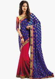 Admyrin Blue Embellished Saree Online Shopping Store