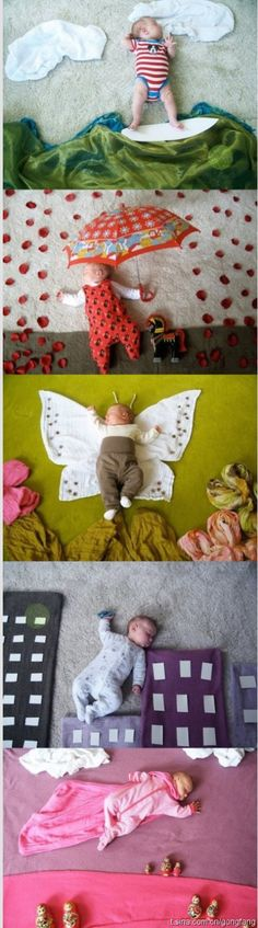 """These pictures were took by a Finnish mother-Adele when her daughter Mila was sleeping. She used towels,cloths to arrange different scenes. She named these pictures """"Mila's daydream""""! How cute is that. Using imagination to communicate. Great!"""