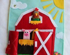 "Custom Quiet Book Page ""Farm"" -Single Page to Expand Your Personalized Quiet Book"