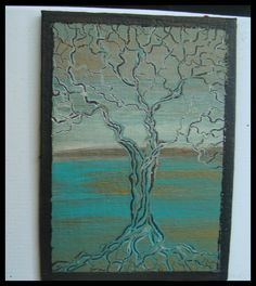 "Original Contemporary Modern ""Tree Of Life"" 5'' x 7'' Art Painting By Sena Tidwell"