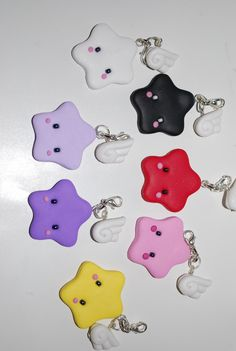 winged stars....(star light so bright and colorful! Love these whimsical stars!)