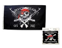 Jolly Roger Pirate Flag Dont Tread On Me with Pirate Sticker Bundle: One 3x5 Ft Flapping Flag and One 4.75x4.75 Inch Vinyl Sticker -- To view further for this item, visit the image link.