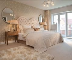 photo of beige white bedroom master bedroom