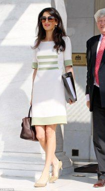 Amal Alamuddin heads to a meeting in a chic green and white midi dress in Athens Simple White Dress, White Midi Dress, White Now, Amal Clooney, Celebrity Style, Celebrity Gossip, Fashion Details, Pretty Dresses, Dress To Impress