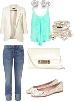 structured blazer with flowy tank, perfect classy combo but not the jeans...shorts ftw :))