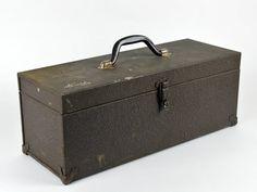 Old Metal Tool Box Industrial Storage Grey by ZintageArchive