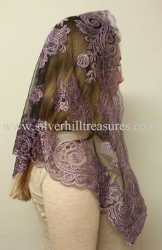 I wish I had the guts to wear this to mass. The Spanish Bouquet Mantilla in Pink on Black at www.silverhilltreasures.com