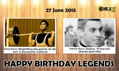 Happy Birthday #Sports #Legends #TamioKono - is the only #Olympic weightlifter in history to have set world records in four different weight classes, #Lightweight (67.5 kilograms), #Middleweight (75 kg), #lightheavyweight (82.5 kg), and middle-heavyweight (90 kg).  #Patrick Sercu - is a retired Belgian #cyclist. He hold three world titles in the sprint, in 1963, 1967 and 1969.He also earned the #GreenJersey in the 1974 #TourdeFrance.