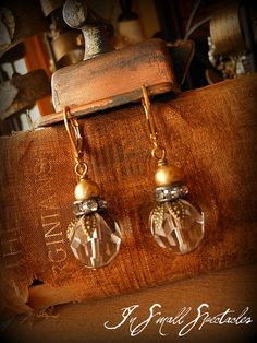 Vintage Brass Bead and Crystal Glass Earrings by InSmallSpectacles, $20.00