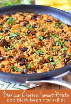 Mexican Chorizo, Sweet Potato and Black Bean Rice Skillet is a simple weeknight supper with yummy Mexican flair. #dairyfree #glutenfree | iowagirleats.com