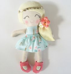 Cloth doll fabric doll handmade doll by LittleSunshineShop11