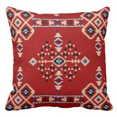 "Title : 29 Tribal Native American Red Symbolic Print.JPG Throw Pillow  Description : Words to describe Tribal; ""Native-American's, Indian, Tribes, ""Tribal-Prints"", ""Geometric-Patterns"", ""Miscellaneous-Shapes"", Diamonds, Squares, Arrows, ""Repetitive-Patterns"", ""Fabric-Weaving"", Tapestry, Beads, ""Animal-Bones"", ""Ethnic-Tribes"", Cultural, Cultures, ""Southwest-Patterns"", ""Animal-Pattern-Prints"", ""Ethnic-Prints"", Ganado, ""Native-Traditional-Patterns"", Ikat, ""Navajo-Art"", Weaving…"