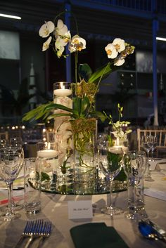 Wedding and Floral Event Styling from Planet Flowers: National Museum of Scotland - Jungle City: what a simple but striking table centre piece