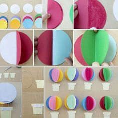Diy Hot Air Balloons, Pastel Balloons, Paper Balloon, Balloon Garland, Diy Birthday Decorations, Girl Baby Shower Decorations, Craft Stick Crafts, Crafts For Kids, Decoration Creche