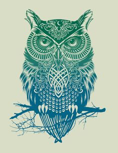 all things holy. i need this, framed, BIG, in a very special place in my house. owls remind me of my gran and the colors and design of this one are just gorgeous.