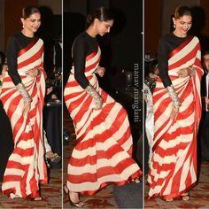Bollywood actress Deepika padukone in Sabyasachi red saree Saree Blouse Neck Designs, Saree Blouse Patterns, Kurta Designs, Indian Bridesmaid Dresses, Indian Dresses, Indian Outfits, Bridal Dresses, Indian Beauty Saree, Indian Sarees
