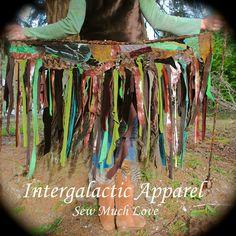 Woodland TatteReD Tutu, FeStiVaL Pixie Skirt, CUSTOM TriBaL Clothing, Woodland Wrap Skirt, Hippie Skirt. $98.00, via Etsy.