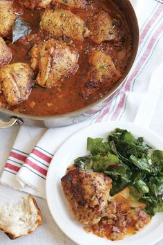 Braised Chicken with Onions, Rosemary and Sage... Chicken, onions and herbs braised with wine make a warming meal for a cold evening. Serve the chicken over polenta or rice, or set out some crusty bread to absorb the flavorful juices
