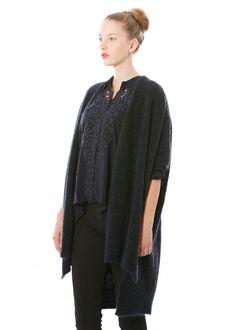 Wolljacke Take Part von HIGH bei nobananas mode #nobananas #blue #jacket #vest #wool #mohair #asymmetric #long #collar #fw16