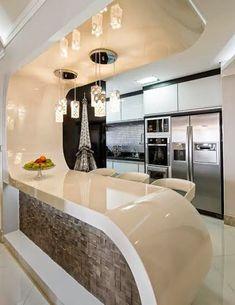 Kitchen Room Design, Home Room Design, Kitchen Cabinet Design, Home Decor Kitchen, Interior Design Living Room, Kitchen Colors, Modern Kitchen Interiors, Contemporary Kitchen Design, Modern House Design