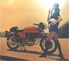 Is this the complete ad? It seems to miss some copy. So here it is: Laverda, makes women remember something completely different.  -Vintage motolady and Laverda motorcycle.