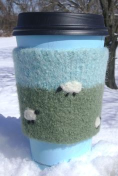 Felted Sheep Grazing Coffee Cozy by PurlandJune on Etsy, $15.00