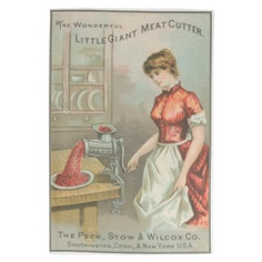 Vintage Advertising Kitchen Towel (Edit)   This lovely kitchen towel is a vintage advertisement for a wonderful new kitchen product - The Little Gian Meat Cutter. Shows a lady in the kitchen grinding meat with the new appliance. Very lovely.