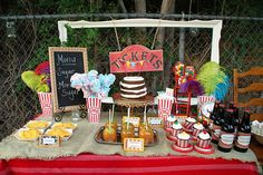 vintage carnival baby shower food table