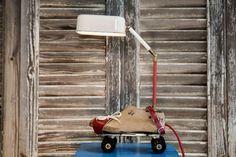 steampunk table lamp, Vintage roller skates & wooden shoe-maker's last - studioryx