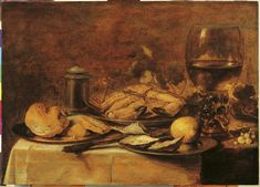 Pieter Claesz, Stilleven met krab en oesters (Still Life with Crab and Oysters), 1645. (collection) #franshalsmuseum #food #art #painting
