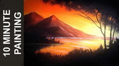 Painting a Sunset Over a Lake with Acrylics in 10 Minutes! - YouTube
