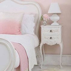Squat Shabby Chic Lamp (Image by The French Bedroom Company Shabby Chic Bedrooms, Bedroom Vintage, Shabby Chic Homes, Shabby Chic Decor, White Bedrooms, Shabby Chic Nightstand, Shabby Chic Furniture, Bedroom Furniture, Bedroom Decor