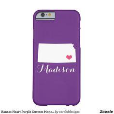 Kansas Heart Purple Custom Monogram Barely There iPhone 6 Case