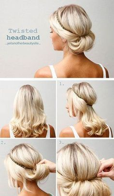 Twisted Headband Updo   10 Beautiful & Effortless Updo Hairstyle Tutorials for Medium Hair   Gorgeous DIY Hairstyles by Makeup Tutorials at makeuptutorials.c...
