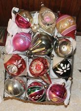 12 ANTIQUE VTG. XMAS TREE ORNAMENT DOUBLE INDENT HOT AIR BALLOONS ICE CREAM CONE