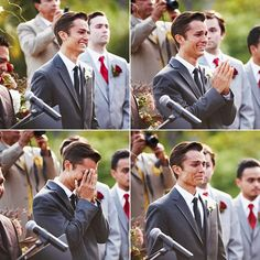 grooms reaction to bride walking down aisle