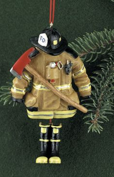 Firefighter Christmas Ornaments - Tan Firefighter Turnout Gear Ornament