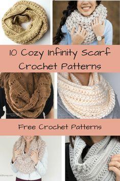 10 Free & Cozy Infinity Scarf Crochet Patterns | Cowl | Free Patterns | Crochet | Scarf | Infinity Scarf | Chunky | Lace | Winter | Fall | Warm | Yarn