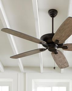 """The Colony Max Collection: The tailored silhouette and multiple finish and mounting options of the 52"""" Colony Max ceiling fan by Monte Carlo make it a universal choice for any décor and room size. The Colony Max is rated for damp locations and has an optional remote control."""