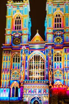 Westminster Abbey lit for Lumiere London (Festival of Light) Tourism London, Westminster Abbey, Festival Lights, London Street, Explore, Exploring