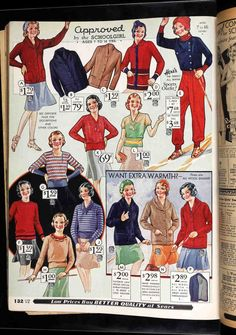The economic constraints of the Great Depression greatly increased the popularity of the sweater in women's and girl's fashion. Sweaters were warm, could be knitted at home for minimal cost, and could be paired with skirts which required less fabric than dresses. The skirt and sweater ensembles seen on this page of the Fall-Winter 1932 Sears catalog were more or less the chosen uniform of schoolgirls of all ages throughout the 1930s.