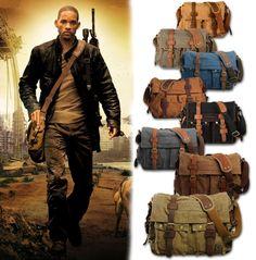Para Hombre Vintage De Lona Cuero Bolso Escuela Militar bandolera Messenger Bag