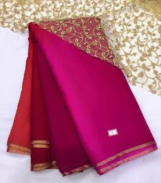 coral to omber pink saree with pitta work border..gold cut work unstitched blouse fabric. for more detail visit www.facebook.com/houseof2 Crepe Saree, Satin Saree, Chiffon Saree, Saree Dress, Pink Kurti, Pink Saree, Indian Attire, Indian Outfits, Dress Piece